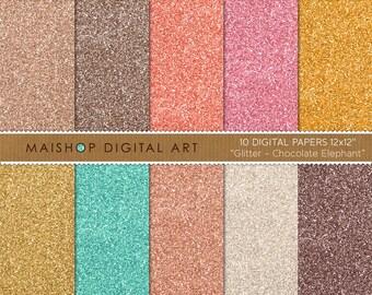 Glitter Digital Paper 'Chocolate Elephant' Gold, Mint, Champagne, Pink, Orange, Brown Glitter for Scrapbook, Design, Card Making, Crafts..