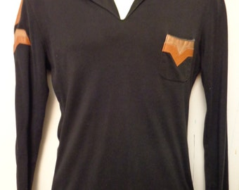 VINTAGE 1970'S Black/Leather Trim FADED GLORY VNeck Long Sleeve Pullover (available)