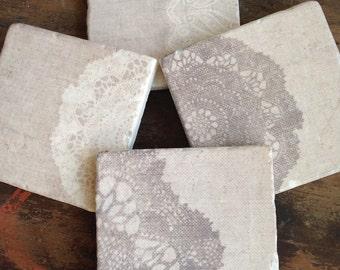 Burlap and Lace stone coasters (set of 4)