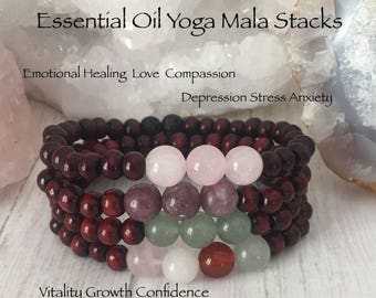 Essential Oil Diffuser Yoga Wrist Mala Bracelet Stacks charged with Reiki