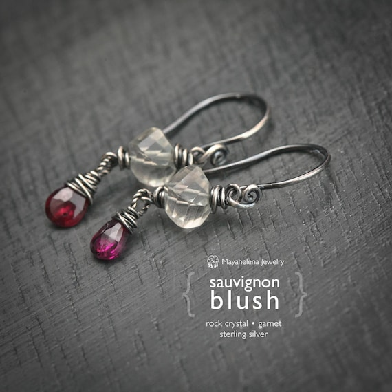 Sauvignon Blush  - Rock Crystal and Garnet Drop Sterling Silver Earrings