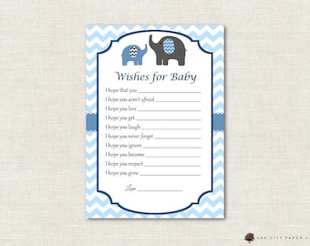 Elephant Wishes for Baby - Wishes for Baby Card, Well Wishes for Baby, Elephant, Baby Shower Wishes for Baby, Baby Blue - Printable, DIY