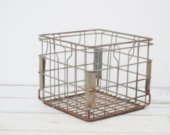 Wire Milk Crate Borden's Dairy Metal Milk Crate 1983 Milk Delivery Crate Box
