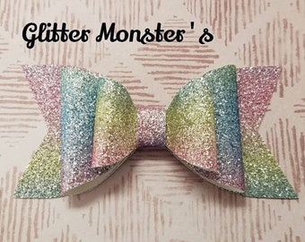 Glitter Ombre Hair Bow,Ombre Hair Bow,Ombre Headband,Double Stacked Glitter Bow,Rainbow Headband,Glitter Bows,Toddler Bows,Girls Hair Clips