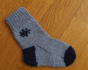Kids Socks from Wool - Hand Knitted Soft Socks for Toddler - Grey Wool Baby Socks - Gift for Children