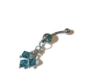 Pierced Navel Jewelry - Blue Zircon Crystals