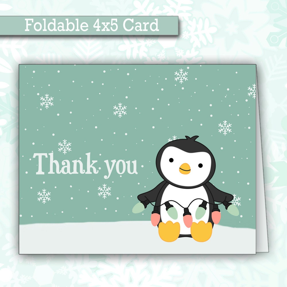 Cute christmas penguin thank you cards winter thank you for Penguin christmas cards homemade