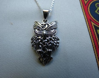 Sterling Silver Celtic Owl Pendant with Sterling Silver Chain.