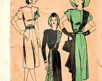 1940s Butterick 4129 Vintage Sewing Pattern Misses One Piece Dress Diagonal Drape, Cascading Drape, Afternoon Dress Size 14 Bust 32 (Est.)