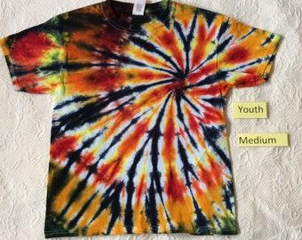 Youth Medium Multi-Color Spiral Short Sleeve Tie Dye T-Shirt