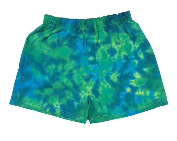 Tie Dye Boxer - Blue Greens