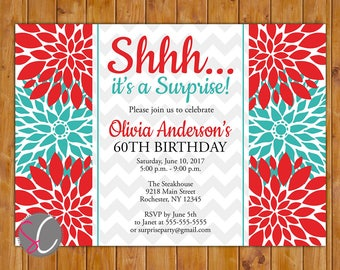 Adult Surprise Birthday Party Celebration Invitation Red Teal Floral Burst  50th 60th Milestone Birthday 5x7 Digital JPG DIY Printable (182)