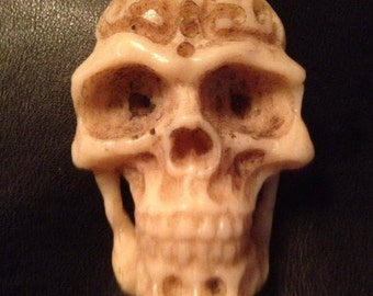 Visage of Bone // Hand Carved Skull Pendant // Amulet (Articulation Available)