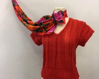 Blood orange knit sweater * Vintage 1970s 1980s v-neck sweater * 70s 80s loose gauge sweater