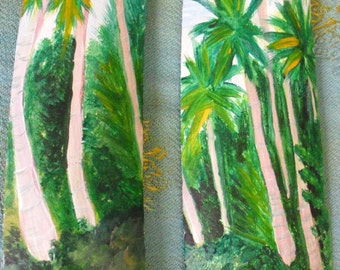 2 Original Paintings of Tropical beach Scene- coastal bathroom decor - Wall Decor-Home Decor driftwood art