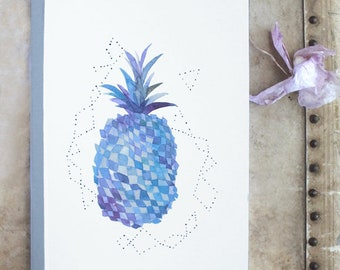 Pineapple watercolor notebook, Tropical notebook, Pineapple stationery, Pineapple journal, Watercolor pineapple, Pineapple tropical, Gift