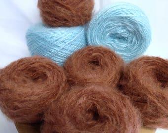 Vintage Angel Turquoise Yarn Cakes Mohair Blend Chestnut Brown Yarn Destash, Victorian Mohair Blend Yarn for Fibre Art Work & Knitting