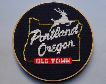 Portland White Stag Sign - Cross Stitch Pattern PDF