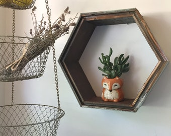 "14"" Hexagon Reclaimed Wood Shelf"