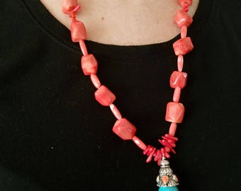 Handmade Coral/Turquoise Beaded Necklace