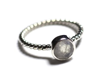 N231 - Ring 925 sterling silver and stone - stone of Moonstone 6 mm ring twist