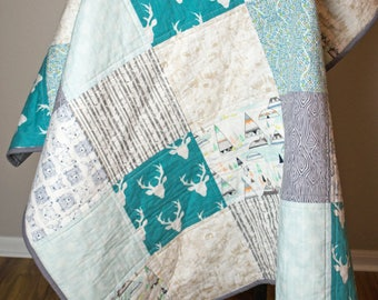 Baby boy quilt. Woodland quilt. Boy woodland nursery. Baby patchwork quilt. Baby blanket. Minky baby blanket.
