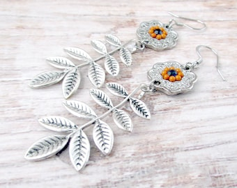 Womens Leaf Earrings - Boho Mandala Earrings - Boho Silver Leaf Earrings - Bohemian Leaf Earrings - Boho Leaf Earrings - Leaf Boho Earrings