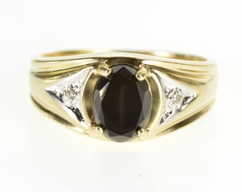 10k Diamond Accented Black Onyx Oval Inset Ring Gold