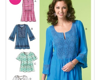 Sewing Pattern for Misses' Peasant Tops and Tunic, McCall's Pattern 7128,  Boho, Bohemian Style Women's Tops, Plus Sizes Avail