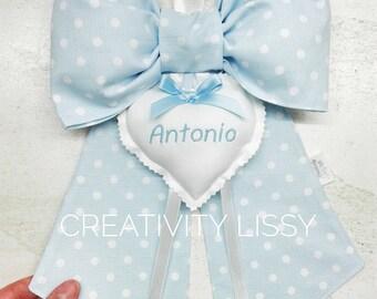 Birth bow, Out door birth, blue ribbon, cockade birth, custom staple, toddler staple, particular birth bow,
