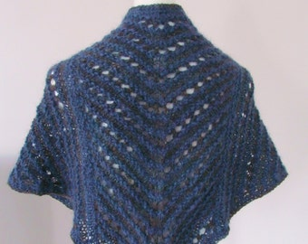 Hand Knitted Handspun Wrap in Blue, Gray, and Purple