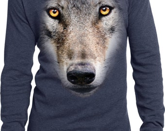 Men's Funny Shirt Big Wolf Face Long Sleeve Thermal Tee T-Shirt 17941D0-DT118