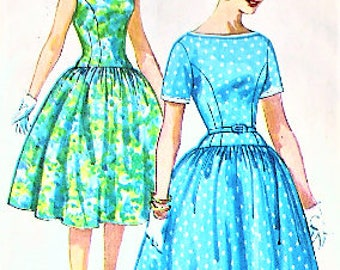 Simplicity 3314 Vintage 1960s Drop Waist Dress with Short Sleeves or Sleeveless with Shoulder Bows and Full Skirt Sewing Pattern