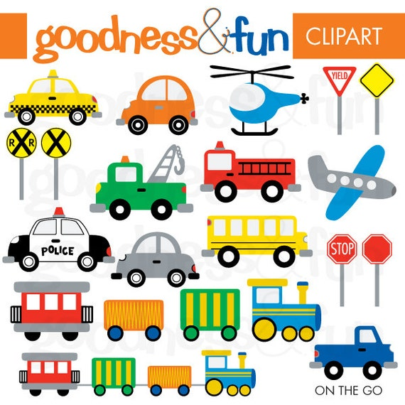 New Buy 2, Get 1 FREE - On The Go Transportation Clipart - Digital  MU82