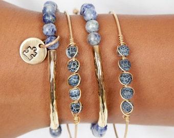 April Autism Awareness  | Puzzle Piece Charm |  Blue Beaded Bracelet | Blue Autism Charm Bracelet  | Light It Up Blue Bangle