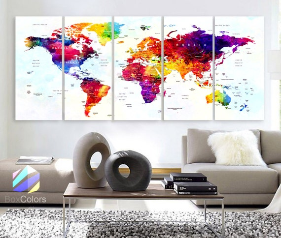 Xlarge 30x 70 5 panels art canvas print world map xlarge 30x 70 5 panels art canvas print world map original watercolor push pin travel cities wall home office decor framed 15 depth gumiabroncs Image collections