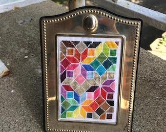 Colorful Geometric Cross Stitch