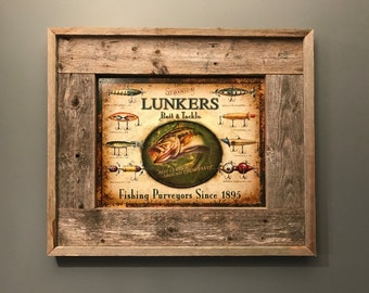 Lunkers, Bait and Tackle, Fish Lure Tin Sign, Rustic Framed Sign, Picture Frame, Cabin Decor, Largemouth Bass, Fisherman Gift, Gift Ideas