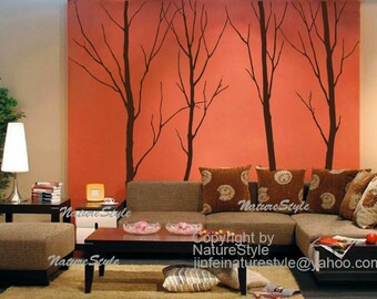Nursery Wall decal Winter Tree Wall Decal Wall Sticker vinyl sticker home decor party gift kids wall mural, wall decor- Four Winter Trees