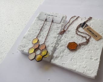 honeycomb earrings stained glass honeycomb honeycomb jewelry set fused glass honeycomb stained glass earrings yelow jewelry set geometric