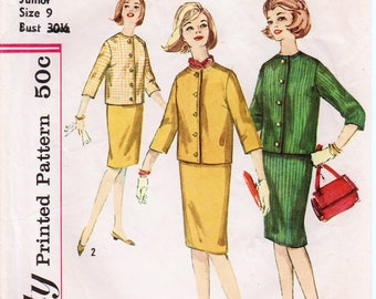 "Vintage Skirt Suit Pattern 1960s Skirt and Jacket Pencil Skirt Pattern SIMPLICITY 4600 bust 30.5"" Vintage Teen Dress Jackie Kennedy Dress"
