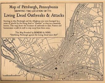 Pittsburgh Map Zombie Art Digital Print Vintage Map Night of the Living Dead Alternate Histories Geekery Zombies