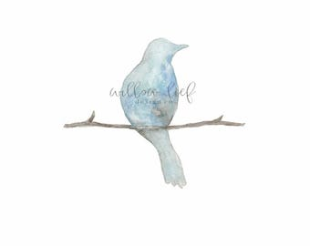 Wall art, birt art, bird watercolor, blue bird painting, Serenity,  Blue Bird Watercolor Print