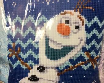 Frozen olaf cross stitch pillow Kit