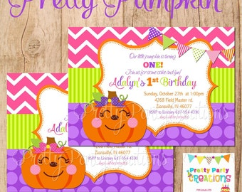 PRETTY PUMPKIN invitation - with or without photo - YOU Print