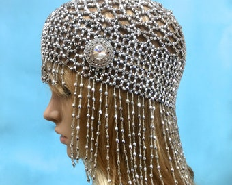 Flapper Cloche Hat, Flapper 1920s Cloche, Boho Bridal Headpiece, Silver Beaded Headpiece, Silver Beaded Hat, Great Gatsby Flapper 1920s Hat