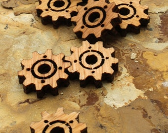 """Wood Clock Gear Beads Steampunk Minis .75"""" with Center Cutout -  Itsies - Oak Wood Charms by Timber Green Woods"""