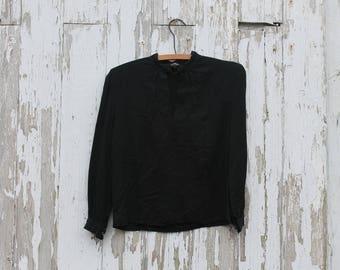 1970s three quarter sleeve black shirt, decorative cuff buttons, choker button neck, small, Terry Creations, blouse