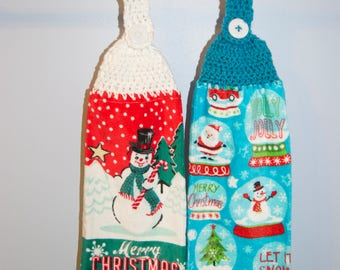 Holiday Hand Towel with Crochet Towel Topper