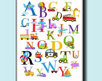 Alphabet Transportation Nursery Wall Art 8x10 - Cars, Trucks, Boats, Planes, and More
